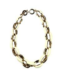 Anne Klein - Metallic Gold Tone Ivory Enamel Link Statement Necklace - Lyst
