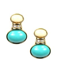 Anne Klein | Blue Ivory and Turquoise Epoxy Drop Clip On Earrings | Lyst