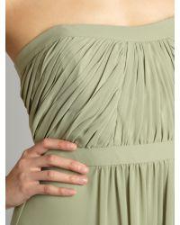 Ariella   Green Strapless Pleat Maxi Dress   Lyst