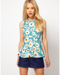 ASOS Collection | Blue Asos Sleeveless Top with Peplum and Daisy Print | Lyst