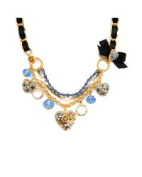 Betsey Johnson | Metallic Blue Crystal Heart Necklace | Lyst