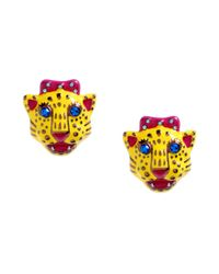 Betsey Johnson | Metallic Antique Gold Tone Tiger Stud Earrings | Lyst