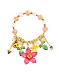 Betsey Johnson | Natural Flower and Ladybug Half Stretch Bracelet | Lyst