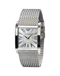 Emporio Armani - Metallic Womens Mesh Stainless Steel Bracelet - Lyst