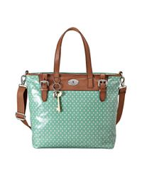 Fossil | Green Vintage Keyper Coated Canvas Tote | Lyst