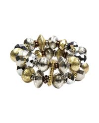 Jones New York | Metallic Mixed Metal Double Row Stretch Bracelet | Lyst