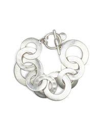 Jones New York - Metallic Silvertone Interlocking Circles Bracelet  - Lyst