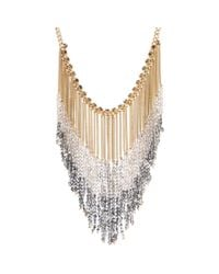 Kenneth Cole | Metallic Beaded Chain Fringe Statement Necklace | Lyst