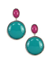 Nine West | Blue Large Colorblock Drop Earrings | Lyst
