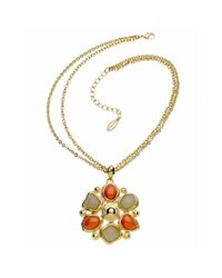 T Tahari | Natural Sand and Coral Bead Flower Pendant | Lyst