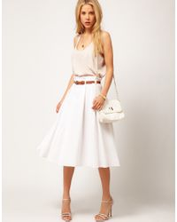 ASOS Collection | White Asos Linen Midi Skirt with Belt | Lyst