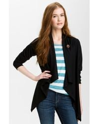 Bobeau | Black One Button French Terry Cardigan | Lyst