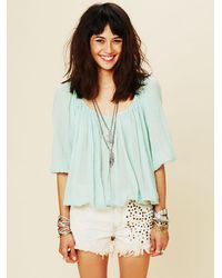 Free People | Blue Fp One City Peasant Blouse | Lyst