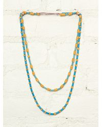 Free People | Multicolor Vintage Blue and Yellow Beaded Necklaces | Lyst