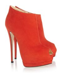 Giuseppe Zanotti | Red Suede Peeptoe Platform Ankle Boots | Lyst