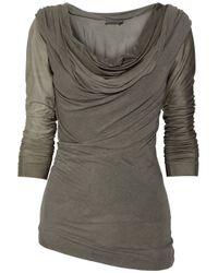Donna Karan - Gray Draped Jersey and Satin-jersey Top - Lyst