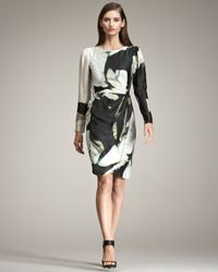 Armani | Black Floral-Print Silk Dress | Lyst