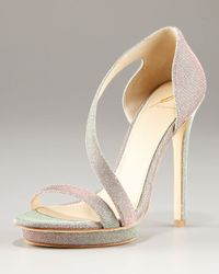 B Brian Atwood | Metallic Consort Open Toe Sparkly Strappy Platform Sandal | Lyst