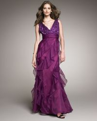 Badgley Mischka | Purple Sequin-top Organza Gown | Lyst