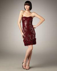Badgley Mischka | Red Floral-detail Sequin Dress | Lyst