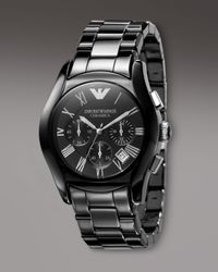 Emporio Armani | Metallic Ceramic Watch, Black for Men | Lyst