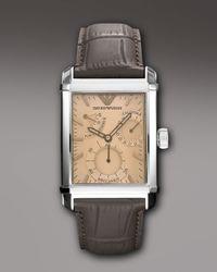 Emporio Armani - Brown Embossed-strap Rectangular Watch for Men - Lyst
