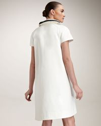 Fendi | White Contrast Ruffle Collar Dress | Lyst