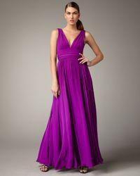 Halston | Purple V-neck Silk Gown | Lyst