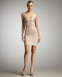 Hervé Léger | Natural Sleeveless Bandage Dress | Lyst