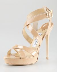 Jimmy Choo | Natural Nude Patent Leather Vamp Platform Sandals | Lyst
