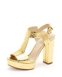 Michael Kors | Metallic Korsveron Platform Sandal, New Gold Snake-embossed | Lyst