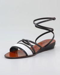 Lanvin   Black Double-cross Ankle-wrap Low-wedge Sandal   Lyst