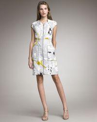 Lela Rose | Gray Printed Front-Zip Dress | Lyst