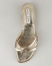 Manolo Blahnik - Berna Metallic Slip-on Sandal - Lyst