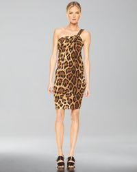 Michael Kors - Brown One-shoulder Dress, Leopard Print - Lyst