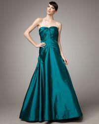 ML Monique Lhuillier | Green Strapless Taffeta Gown | Lyst