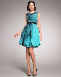 Oscar de la Renta - Blue Topstitched Silk Faille Dress - Lyst