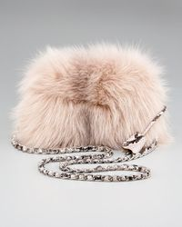 Prada | Pink Fox Fur Clutch | Lyst