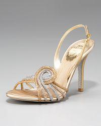 Rene Caovilla | Metallic Crystal-Swirl Sandal | Lyst