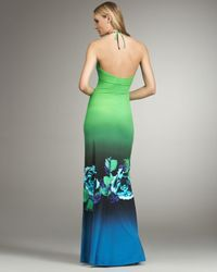 Roberto Cavalli | Multicolor Floral-print Halter Gown | Lyst