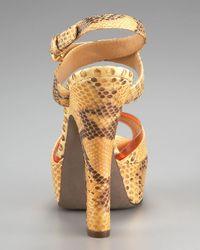 Sergio Rossi | Natural Python Platform Sandal | Lyst