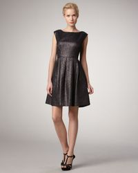 Shoshanna | Black Metallic Cap-sleeve Dress | Lyst