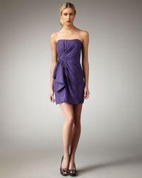 Shoshanna | Purple Ruffle-front Cloque Dress | Lyst