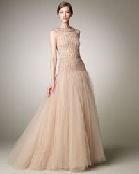 Valentino - Natural Tulle Illusion Ball Gown - Lyst