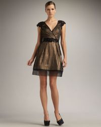 Vera Wang Lavender | Metallic Lace-sleeve Lame Dress | Lyst
