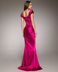 Vera Wang - Pink Cap-sleeve Charmeuse Gown - Lyst