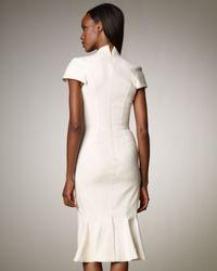 Zac Posen   White Stretch Split V-neck Dress   Lyst
