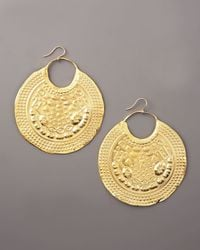 Devon Leigh | Metallic Embossed Gold Earrings | Lyst