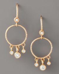 Dominique Cohen | Metallic Round Diamond-fringe Earrings, Rose Gold | Lyst