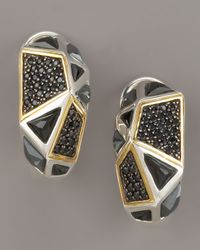 Kara Ross | Black Onyx Omega Huggie Earrings | Lyst